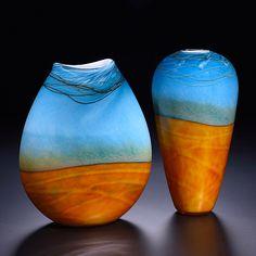 "Landscape Pouch and Vase Art Glass Vase""  Art Glass Vase  Created by John & Heather Fields"