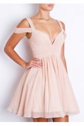 Forever Unique Lily Dusty White Nude Blush Chiffon Party dress