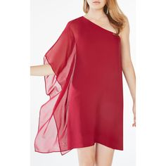 BCBGMAXAZRIA Alana One-Shoulder Silk Dress ($228) ❤ liked on Polyvore featuring dresses, holiday dresses, silk cocktail dress, draped cocktail dress, red dress and red holiday cocktail dress