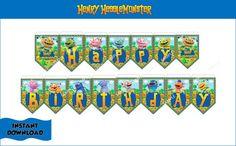 HENRY HUGGLEMONSTER Happy Birthday Banner Henry by CutePartyFairy
