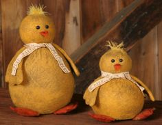 pictures primitive easter crafts | New Country Primitive Spring Easter Peep Chicks Set of 2 Cloth Doll ...