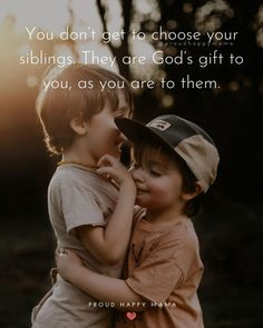 Are you looking for the best sibling love quotes and sayings? Or an inspirational family quote to celebrate your brother or sister on National Sibling Day? Then you'll love these quotes about siblings! Younger Brother Quotes, Sister Bond Quotes, Brother Sister Love Quotes, Sibling Quotes, Brother Birthday Quotes, Daughter Quotes, Your Brother, Quotes About Siblings Bonds, Quotes About Brothers