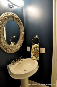 Evolution of Style: Moody Blue Powder Room Reveal - love this paint color!