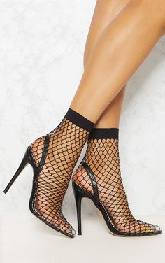 23461d46a Black Fishnet Slingback Pointed Toe Heels Meias Descoladas
