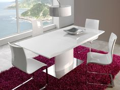 Arena- High Gloss White Extending Dining Table with a Stainless Steel Base and Opt Chairs White Extending Dining Table, Dinning Table, Extendable Dining Table, Dining Rooms, Small Kitchen Table Sets, Table Extensible, Table Design, Deco Design, Home Furnishings