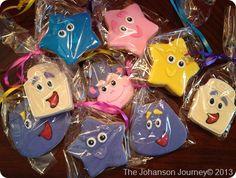 The Johanson Journey Dora Party Custom Dora Friends Cookies-Favors Friend Birthday, 2nd Birthday, Birthday Parties, Party On Garth, Dora Cake, Dora And Friends, Cookie Favors, Dora The Explorer, Kids