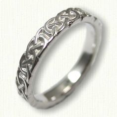 14kt White Gold Celtic Murphy Knot Wedding Band- sculpted - 4.0 mm width