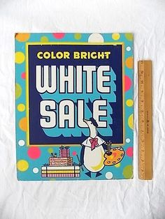 Vintage Cardboard White Sale Store Sign with Colorful Duck Graphics by ourtimecapsule on Etsy https://www.etsy.com/listing/182309933/vintage-cardboard-white-sale-store-sign