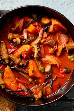 Pinakbet (Vegetables Stewed in Fermented Shrimp Paste) Recipe - NYT Cooking Slow Cooker Lentils, Slow Cooker Chili, Slow Cooker Chicken, Lentil Sausage Soup, Red Lentil Soup, Soup Recipes, Cooking Recipes, Seafood Recipes, Kitchens