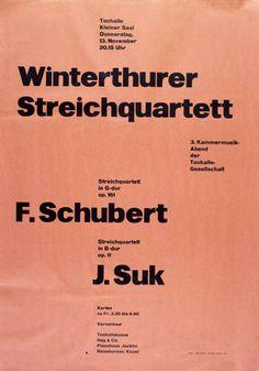 Kleiner Tonhallesaal - Winterthurer Streichquartett - 3. Kammermusikabend - 13. November 1952-Plakat