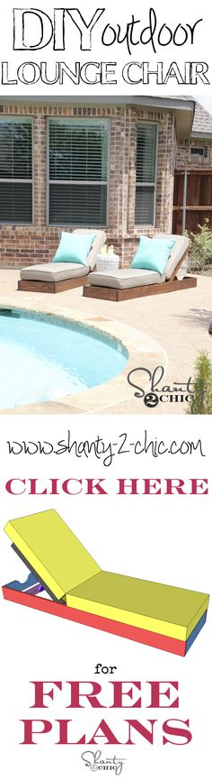 DIY Outdoor Lounge Chairs Build your own custom outdoor lounge chairs with free plans from Backyard Projects, Outdoor Projects, Wood Projects, Woodworking Projects, Woodworking Plans, Shanty 2 Chic, Living Pool, Outdoor Living, Diy Outdoor Furniture