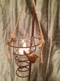 """sweet votive candle holder made with a rusty bed spring """"Junk Salvation"""" by Funky Junk Sisters: Lust For Rust Bed Spring Crafts, Spring Projects, Spring Art, Rusty Bed Springs, Box Springs, Candle Holders Wedding, Metal Spring, Mattress Springs, Funky Junk"""