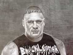 Subject: Brock Lesnar (1977- ) Artist: Nancy Thomas Medium: charcoal and graphite 9x12 Bristol paper, 100 lb Private collection