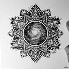 """Mandala design by !""""The Universe in the middle"""" just beautiful! Mandala design by Tyler Hays !""""The Universe in the middle"""" just beautiful! Mandala Tattoo Design, Colorful Mandala Tattoo, Dotwork Tattoo Mandala, Mandala Drawing, Arm Tattoo, Sleeve Tattoos, Tattoo Designs, Sunflower Mandala Tattoo, Mandala Tattoo Shoulder"""