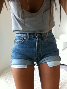 Jean Shorts Light Denim High Waist Vintage 80s Summer S M | High ...