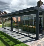 Planning an extensive outdoor renovation? The Prestige garden room from SunSpaces is the perfect fit for modern gardens! Paving Design, Laminated Glass, Glass Roof, Fabric Shades, The Prestige, Gazebo, Outdoor Structures, Garden, Outdoor Decor