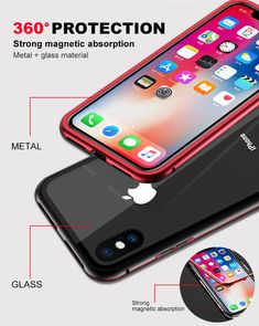 Bakeey magnetic adsorption metal glass protective case for iphone x Iphone Cases For Girls, Iphone Cases Cute, Glass Material, Cute Gif, Simple Nails, Diy Videos, 6s Plus, Protective Cases, Easy Diy