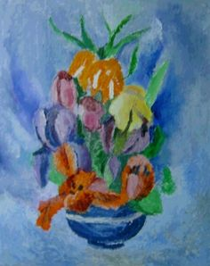 Dorina Padineanu, Flowers in Blue small Vase  on ArtStack #dorina-padineanu #art