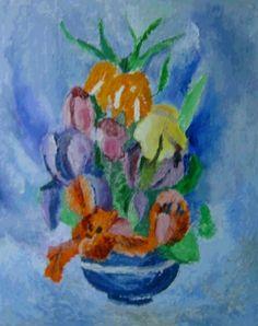 Dorina Padineanu, Flowers in Blue small Vase  on ArtStack #dorina-padineanu #art