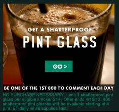 FREE Shatterproof Pint Glass from Marlboro 4PM EST Daily