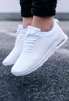 "Nike Air Max Thea ""All White"" - Sneaker / Sport Shoes - Schuhe Nike Shoes Outfits, Nike Free Shoes, Adidas Shoes Women, Nike Women, Nike Shoes Women White, White Shoes For Girls, Nike Air Max White, Skate Wear, Mocassins"