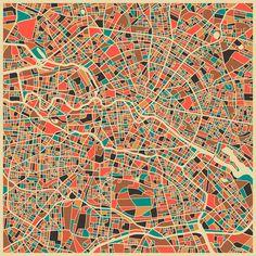 BERLÍN Map, Modern Abstract Wall Art by Modern Artist Jazzberry Blue