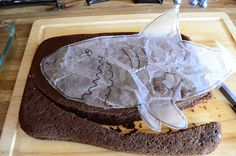 Making a shark cake.