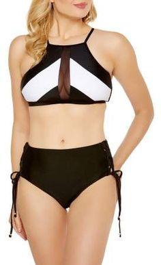 Time and Tru Women s High-Neck Black   White Mesh Halter Bikini Top  sexyswimwear. Liverpool Private Reserve 46c4f3084