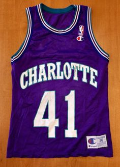 f7462d593bb Vintage 1996 - 1998 Glen Rice Charlotte Hornets Champion Jersey Size 36  alonzo mourning michael jordan michigan wolverines new orleans nba