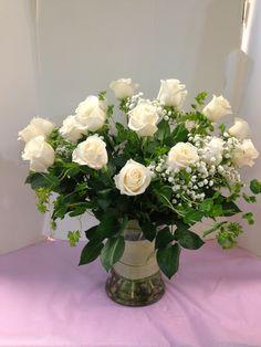 2 Dozen White Roses with babies-breath