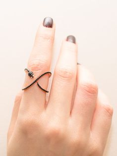 Snake Criss Cross Ring Sterling Silver Snake X by SaniCollection