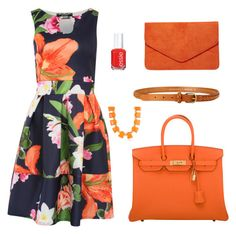 """""""The orange in my wardrobe"""" by kist-42 on Polyvore featuring Hermès, Kenneth Jay Lane, Jigsaw, Essie, Pilot and Dorothy Perkins"""