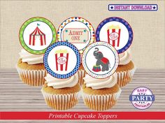 Circus Party Cupcake toppers Instant by EasyPartyPrintables
