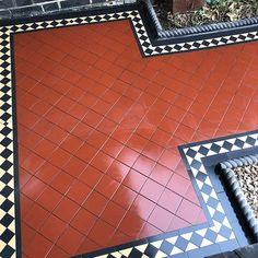 red and black victorian path tiles Victorian Front Garden, Victorian Hallway, Front Garden Path, Victorian Mosaic Tile, Balcony Tiles, Porch Tile, Home Entrance Decor, Tiled Hallway, Red Floor