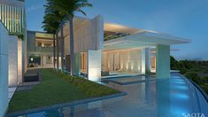 This super luxury villa is a dream house located on the Emirates Hills Golf Estate that was designed by SAOTA and AA Interiors. The villa is also overlooking a series of beautiful. Dubai Houses, Pool Houses, Modern Exterior, Exterior Design, Architecture Details, Modern Architecture, Dream House Drawing, Golf Estate, Lombardi