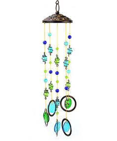 Look what I found on #zulily! Turquoise & Lime Beaded Circle Wind Chime #zulilyfinds