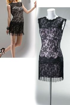 Custom black lace Elegant Above Knee Jewel Sexy Cocktail Dresses nm-0148