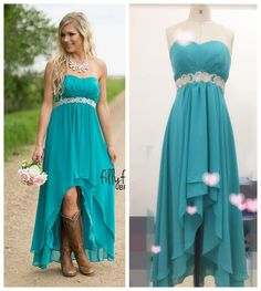 Our Real Photos of Western Country Wedding Bridesmaid http://www.dhgate.com/product/country-wedding-high-low-bridesmaid-dresses/379440955.html