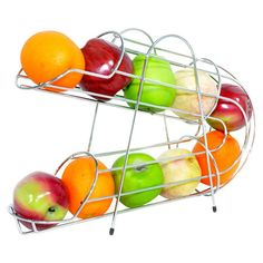 Gravity-fed openwork metal fruit rack in chrome. Product: Fruit rack Construction Material: Metal Color: Chrome Features: Gravity fed Efficiently organizes refrigerator Dimensions: H x W x D Refrigerator Organization, Kitchen Organization, Freezer Organization, Organized Kitchen, Kitchen Dining, Kitchen Decor, Kitchen Ideas, Kitchen Stuff, Home Decor