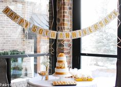 50th wedding anniversary table with banner {BN Black Book of Parties}   Golden 50th Wedding Anniversary