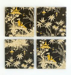 Asian Coasters Black Yellow and Gold Ceramic Tile Coasters set of 4