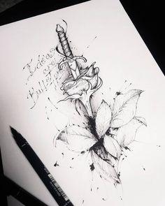 Arte criada por Caio Cesar de São Paulo. Adaga fincada em uma rosa em preto e branco.