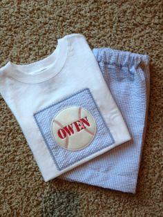 Monogrammed Personalized Boys 2 pc Baseball applique Shirt Shorts set