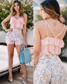 Girly Look Ruffle Top With Floral Shorts Short Outfits, Chic Outfits, Spring Outfits, Short Dresses, Girl Fashion, Fashion Dresses, Womens Fashion, Vetements Shoes, Mein Style