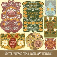 Label art nouveau — Стоковая иллюстрация #14222779