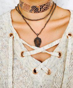 Snake skin choker & lace up sweater // alvjewels.com