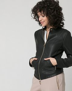 Leather-Like Motorcycle Jacket - Update your style and wear this motorcycle jacket with everything.