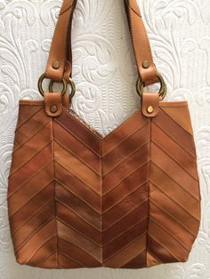 Vintage Lucky Brand Patchwork Real Leather Chevron Zig Zag Shoulder Bag Purse  Hand Bag Like New by OldParisVintage on Etsy