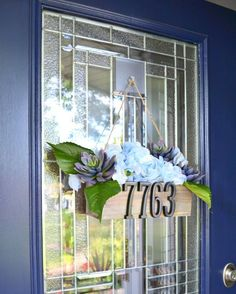 Give your front door a touch of summer hospitality from DIY wreaths, to address planters, say hello to summer curb appeal and door décor. Rope Railing, Mesh Wreath Tutorial, Address Plaque, House Address, Diy Playbook, Steampunk House, Concrete Garden, Wreath Forms, Front Door Decor