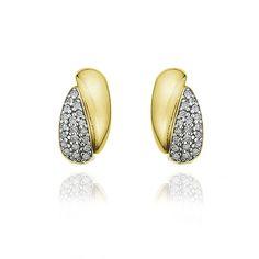 Brinco em ouro amarelo 18k e 16 pts de diamantes - Coleção Lumiere Retrô